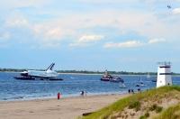 Space Shuttle Atlantis on barge at Breezy Point, NY
